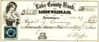 Lake County Bank-Check, 1877