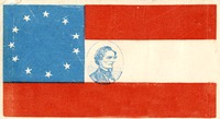 Flag with a stamp of