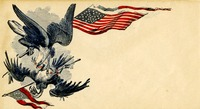 Eagle holding a flag