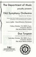 Program - FAU Symphony Orchestra - October 2007