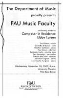 Program - FAU Music Faculty - Fall 2007