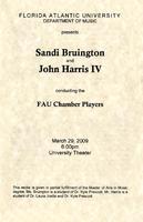 Program - Sandi Bruington and John Harris conducting the FAU Chamber Players - March 2009