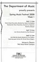 Program--Spring music festival 2008, world music ensemble and commercial music ensemble - April 2008