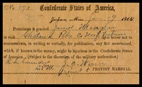 Confederate Military Leave Permission Form, 1863