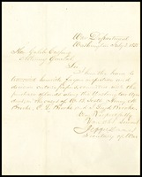 Letter from Jefferson Davis to Caleb Cushings, 1855