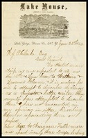 [C.F. Guyon], on the notepaper of Lake House in Lake George, N.Y. notepaper, to WJP [Will] Clarke