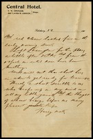 Hairy Mate [Charles Linkins], on Central Hotel in Salisbury, N.C. notepaper, to Cap. [Will Clarke]
