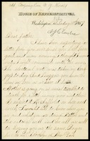 A.J. [Alfred] Clarke, in D.C., House of Representatives letterhead, to his father, William, in N.Y.