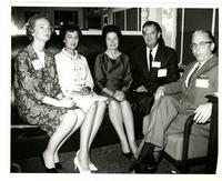 Lady Bird Johnson with members of the official party at the FAU Dedication;  L t R: Unknown woman, Myrtle Fleming, Mrs. Johnson, Tom Fleming, FAU's primary founder, and unknown man