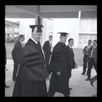 U.S. President Lyndon Baines Johnson walking in the breezeway