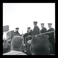 FAU President Kenneth Williams presents U.S. President Lyndon Baines Johnson his Honorary Doctor of Humane Letters diploma at the FAU Dedication