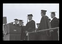 U.S. President Lyndon Baines Johnson on stage at the FAU Dedication