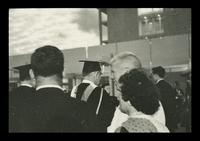 U.S. President Lyndon Baines Johnson walking back off the stage at the FAU Dedication