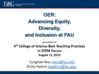 OER: Advancing Equity, Diversity, and Inclusion at FAU