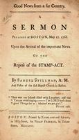 Good news from a far country. : a sermon preached at Boston, May 17. 1766.