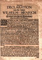 Die dritte Declaration von Sr. Hoheit Wilhelm Henrich [The Third Declaration of His Highness William Henry, Prince of Orange/ and the Proclamation of the King of Great Britain concerning the appointment of a Parliament]