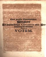 Eines gewissen Schottländischen Mittglieds in gegenwärtiger Convention oder Versammlung der Staaten abgelegtes Votum [The discarded vote of a particular Scottish member of the current Convention of States]