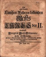 Des aus denen Elisischen Feldern komenden Geists Carls des II. Weyland Königs in Gross-Britannien [The ghost of Charles II out of Elysium, former King of Great Britain, first edition. First printed in English, then translated into Dutch, and lastly into G