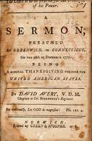 The Lord is to be praised for the triumphs of his power. : A sermon, preached at Greenwich, in Connecticut, on the 18th of December 1777. : Being a general thanksgiving through the United American States.