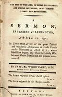 The help of the Lord, in signal deliverances and special salvations, to be acknowledged and remembered. : A sermon, preached at Lexington, April 19, 1779; in commemoration of the great distress and wonderful deliverance of God's people on the nineteenth o