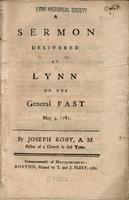 A sermon delivered at Lynn on the general fast May 3, 1781.