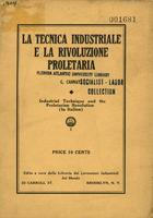 La tecnica industriale e la rivoluzione proletaria = Industrial technique and the proletarian revolution