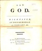 Aan God : dichtstuk, op den bededag in February 1782.