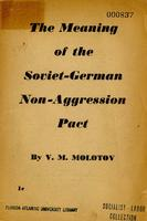 The meaning of the Soviet-German non-aggression pact
