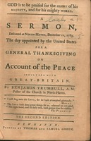God is to be praised for the glory of his majesty, and for his mighty works. A sermon, delivered at North-Haven, December 11, 1783. The day appointed by the United States for a general thanksgiving on account of the peace concluded with Great-Britain.