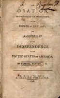 An oration pronounced at Worcester, on the Fourth of July, 1798 : the anniversary of the independence of the United States of America