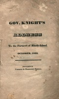 Gov. Knight's address to the farmers of Rhode-Island, October, 1832.