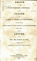 Debate at the Lane Seminary, Cincinnati. : Speech of James A. Thome, of Kentucky, delivered at the annual meeting of the American Anti-Slavery Society, May 6, 1834.