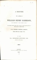 A Discourse on the Death of William Henry Harrison, Late President of the United States, 1841