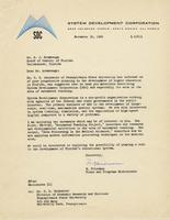 System Development Corporation - Brumbaugh Correspondence, 1960