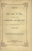 Speech of Hon. Alex. W. Buel, in defence of the Constitution and the Union. Delivered at a public dinner given to him by his fellow-citizens, at Detroit, November 19, 1850.