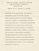 Remarks by President Williams to the Board of Regents, 1970-1972