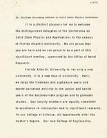 Solid State Physics Conference Speech, 1971
