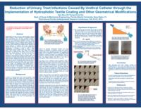Reduction of urinary tract infections caused by urethral catheter through the implementation of hydrophobic textile coating and other geometrical modifications