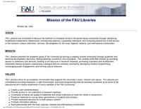 Florida Atlantic University Libraries' mission, vision, and strategic plan 2008-2012