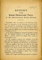 Report of the Social Democratic Party to the International Social Bureau.