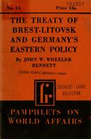 The treaty of Brest-Litovsk and Germanys eastern policy.
