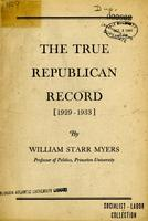 The true Republican record, 1929-1933.