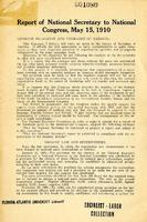 Report of National Secretary to National Congress, May 15, 1910.