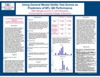 Using the general mental ability test scores as predictors of NFL QB performance.