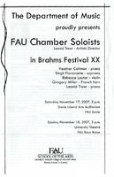 Program - FAU Chamber Soloists - November 2007