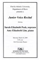 Recital by Sarah Elizabeth Peak (Piano) and Amy Elizabeth Lim (Piano)-March 2009