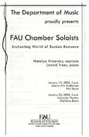 FAU chamber soloists: enchanting world of Russian romance - January 2008