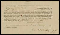 Application for Exemption of one person engaged in a mechanical pursuit, 1863