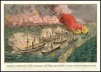 Admiral Farragut's Fleet Engaging the Rebel Batteries at Port Hudson, 1863