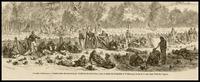 Guerre D'Amerique -- Construction de tranchees par l'artillerie du deuxieme corps, le matin de la bataille de Wilderness, livree le 10 mai, dans l'Etat de Virginie